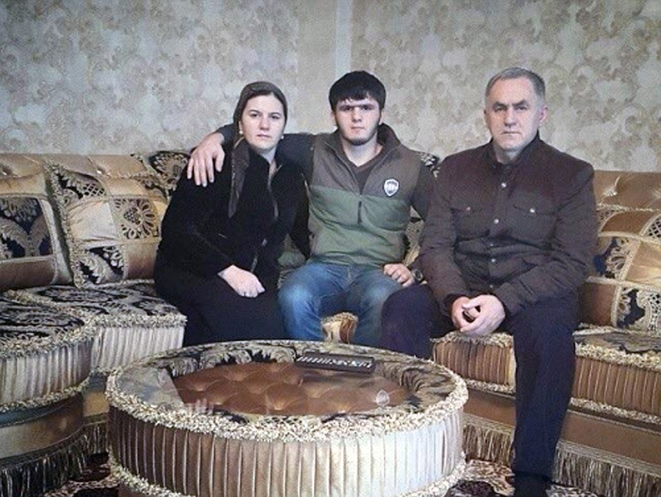 Polygamous: Nazhud Guchigov (right) with his first wife, to whom he is still married, and his son in a picture posted on Instagram