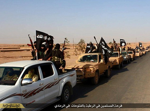 Parade: After slaughtering 500 people and forcing over 8,000 from their homes, ISIS triumphantly drive through Ramadi (pictured) in a fleet of pick-up trucks