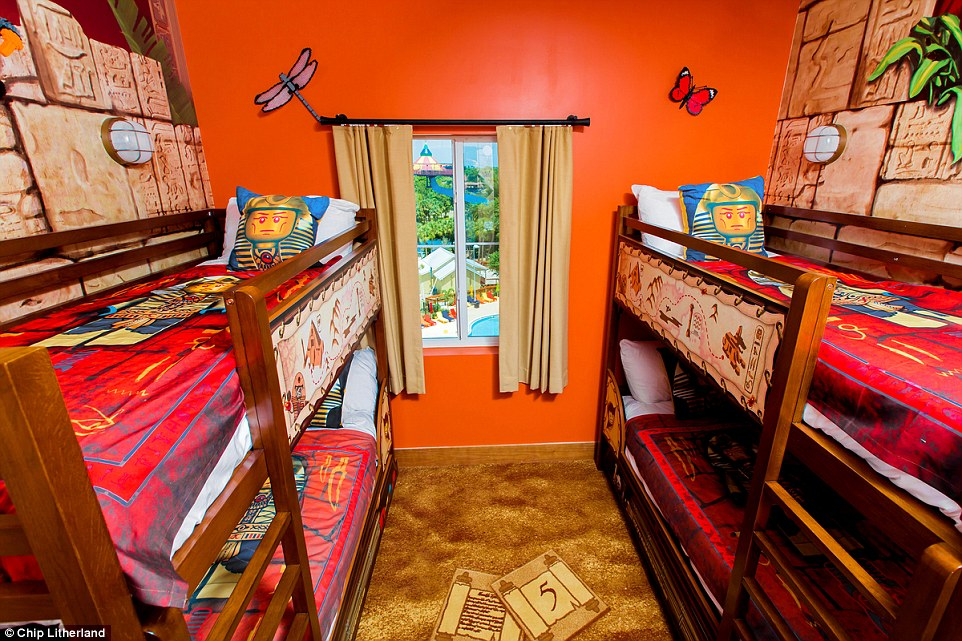 Each of the rooms includes two sleeping areas - a king-sized bedroom for the parents and a separate kids are with bunk beds