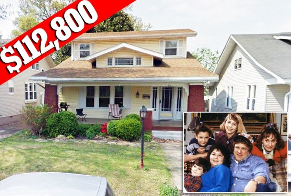 Modest home: The Connor family home from 'Rosanne' is worth an estimated $112,000. The real house is in Evansville, Indiana - though the Connors lived in a distant Chicago suburb. Trulia says they lived in Peoria County, Illinois