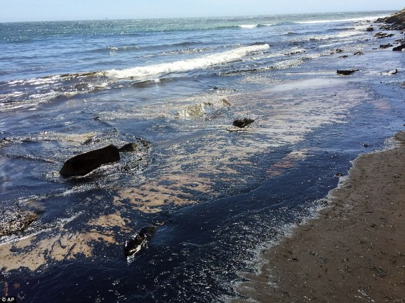 The broken pipe created a spill stretching about four miles off the central coast along a public beach
