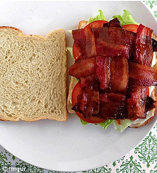 Lattice bacon rashers together to form a tight weave before you cook your pig to ensure the entire surface of the bread is covered