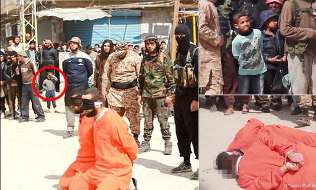 ISIS execute Syrian army soldiers in public square as children watch