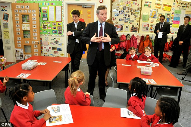Michael Gove talking to primary school pupils in London when he was the Education Secretary. In June 2012 he revealed proposals to scrap GCSEs and return to O-level style exams, involving less coursework