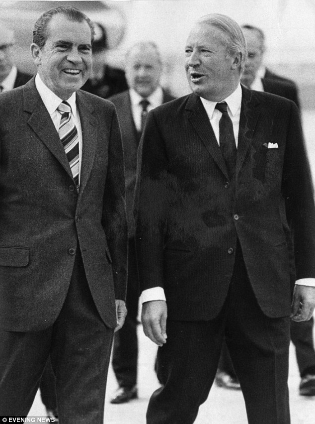 President Richard Nixon walks with  Ted Heath, who was Prime Minister for four years, during a visit to the UK