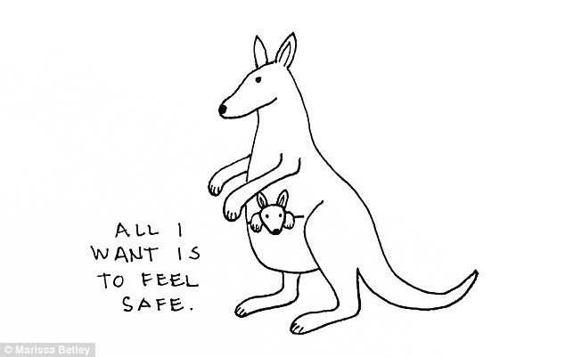 Needing protection: Marissa drew a kangaroo inside its mother's pouch to depict the feeling of safety that one of her interviewees desired