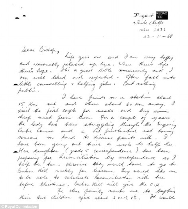 In this letter dated November 22, 1988, Ridsdale writes to Bishop Mulkearns telling him how much he is enjoying his hiatus from his job