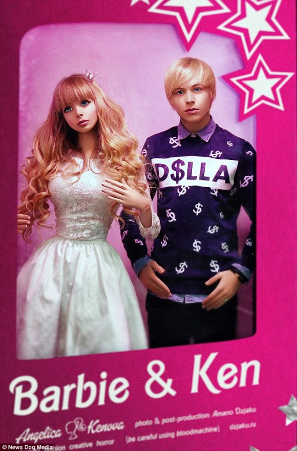 The model, pictured (left) modelling with a 'Ken' (right), says, 'My parents have kept me in a glass palace all my life but one day hopefully, I will be able to break free'