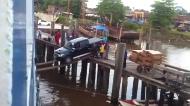 Only one of the most brave or reckless drivers would dare attempt such a perilous crossing.
