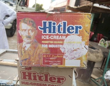 Macabre: A box of Hitler ice cream cones. German newspaper Bild has labelled the snacks a 'macabre publicity stunt', while Twitter users brand it 'tasteless!'