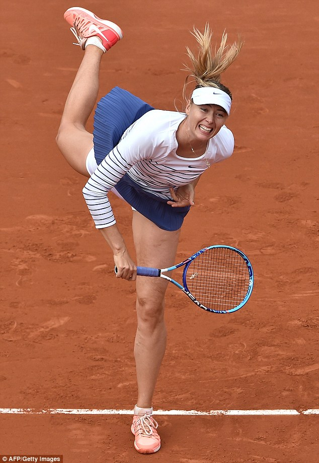 Victory is hers! Maria Sharapova was seen smashing her way to victory againstSamantha Stosur at the French Open at Paris'Stade Roland Garros on Friday