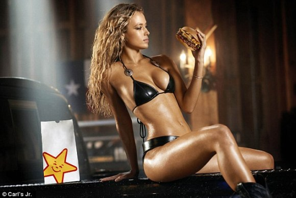 Open up: Hannah Ferguson (above) was featured in an ad forthe Texas barbecue burger