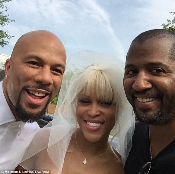 Here comes the bride?Director Malcolm D. Lee (R) has been sharing sneak peeks from the set on Instagram, including rapper-actors Common (L) and Eve (M)