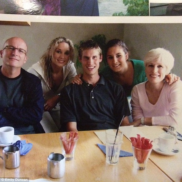Ms Duncan with her family (from left: dad Michael, Emily, brother Thomas, sister Joanna and mum Ruby)
