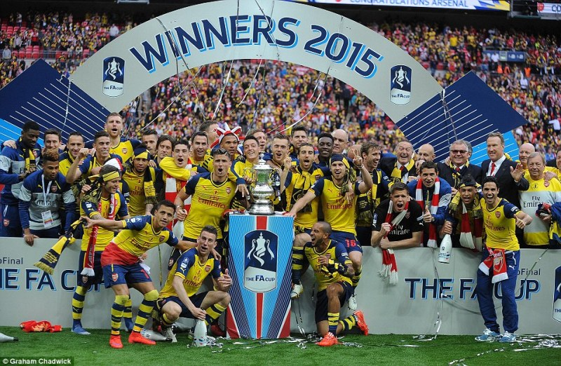 Arsenal celebrate winning the FA Cup for a record-breaking 12th time after beating Aston Villa 4-0 at Wembley on Saturday