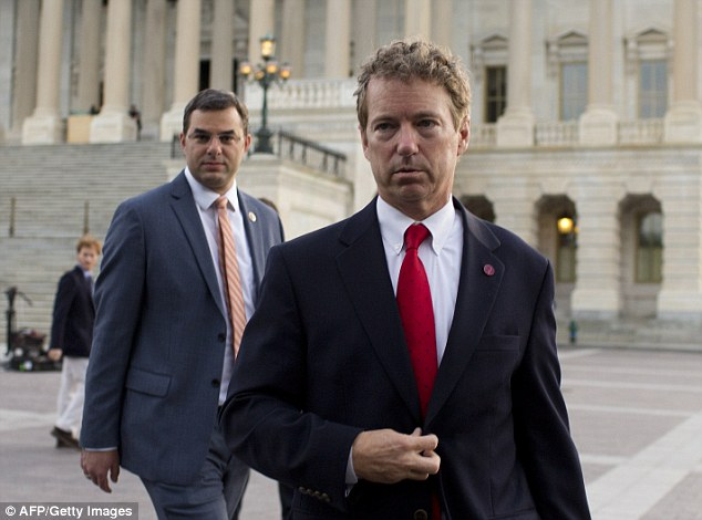 Triumphant: Rand Paul blocked the Senate's efforts to extend the NSA's mass surveillance program. He is pictured leaving the U.S. Capitol after speaking in proceedings