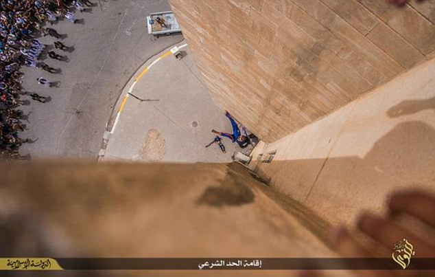Moments from death:A second shots shows the blindfolded man tumbling through the air in the sitting position with his legs outstretched as he hurtles towards the ground
