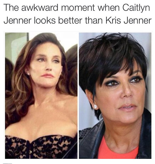 Breaking the internet: The internet has exploded with a number of politically incorrect memes after Caitlyn Jenner was unveiled on the cover of Vanity Fair magazine on Monday
