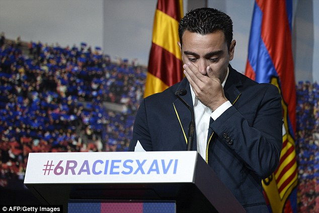 Xavi in turn thanked the club, saying: 'I want to thank every member and every fan, I'm very grateful'