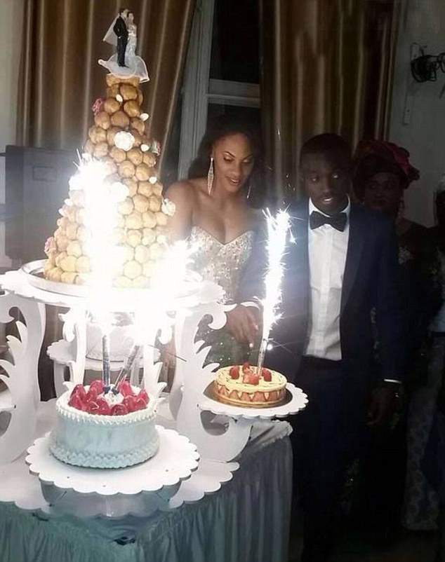 Secret wedding:Papiss Cisse has left his on-off girlfriend heartbroken after she saw these pictures of his marriage toDiallo Awa three days after he said he was going on holiday