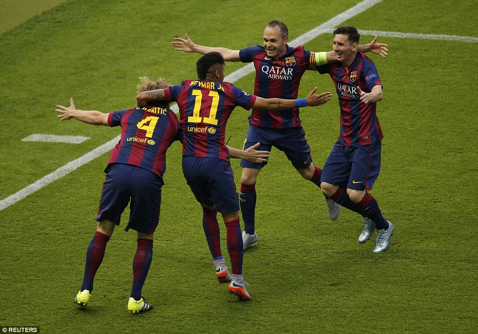 Rakitic, Neymar, Andres Iniesta and Lionel Messi celebrate the opening goal on a magical night for the Catalans in the German capital