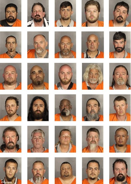Mugshots: 170 people were arrested after the gunfight, many of whom are still in custody. Above are 35 of them