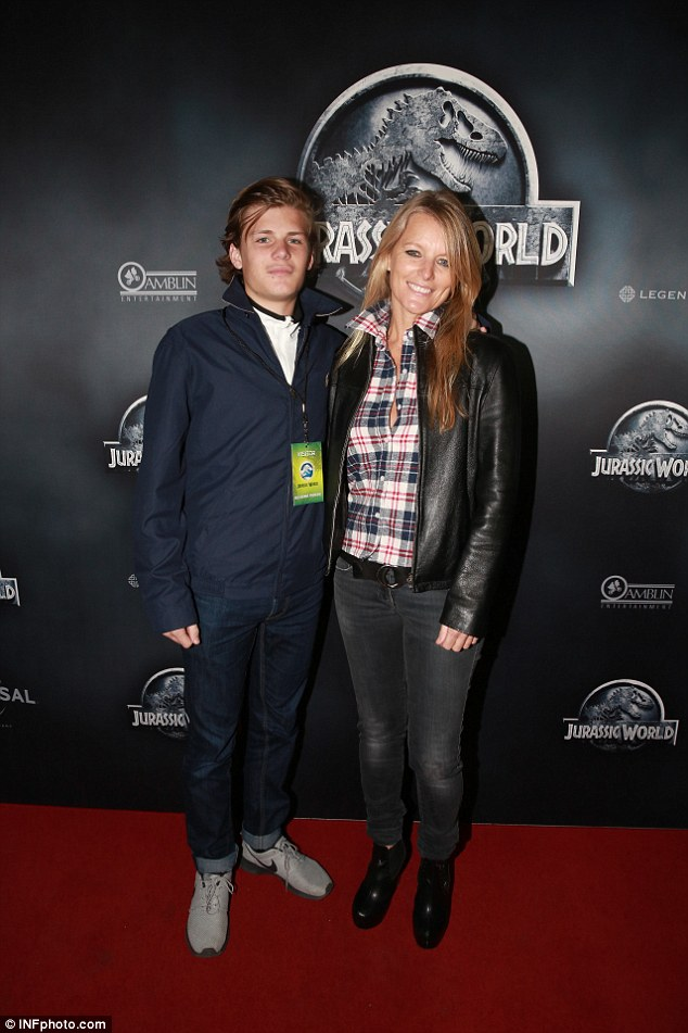 Family affair: Shane Warne's ex-wife Simone and their son, Jackson also walked the red carpet on Wednesday night