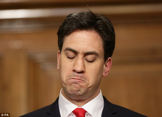 Sad day: Ed Miliband speaks to the media as he resigns as party leader following a crushing election defeat