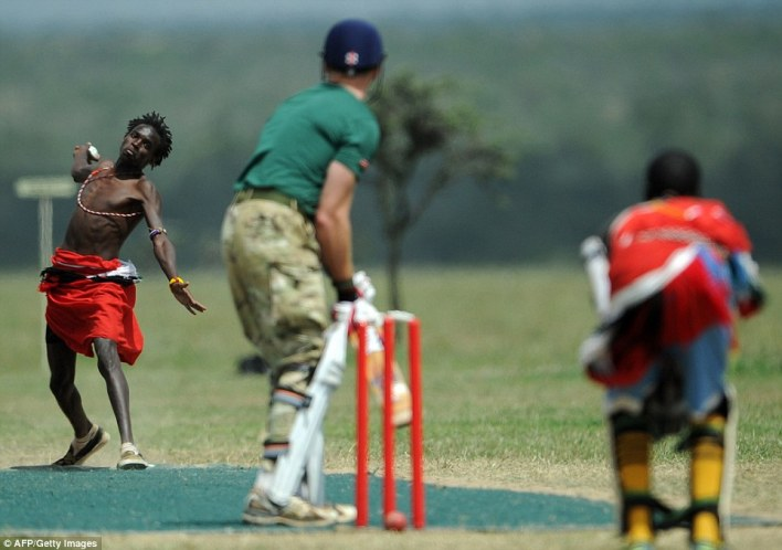 Bowling: The game was held at the 90,000-acre Ol Pejeta Conservancy at the foot of Mount Kenya, about 130 miles north of Nairobi