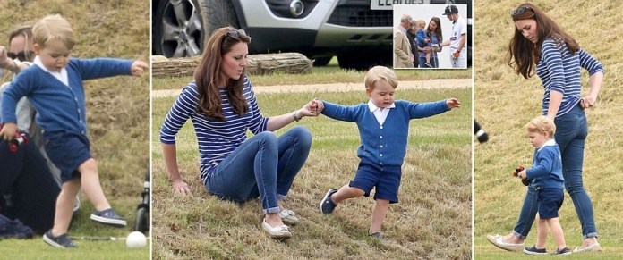 Prince George sits on slim mother Kate Middleton's knee six weeks after Princess