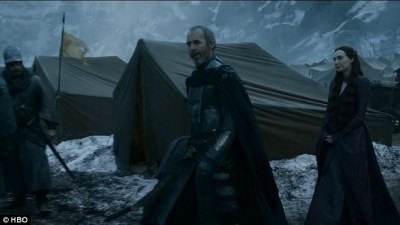 Preparing for war: The episode begins at Stannis Baratheon's camp, where Melisandre claims the snows thanks to the Lord of Light