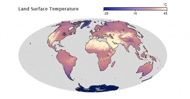 By comparison this map shows the average land surface temperatures around the world in July 2014. Much of north Africa, the Middle East and the west coast of the United States experienced temperatures of 45°C