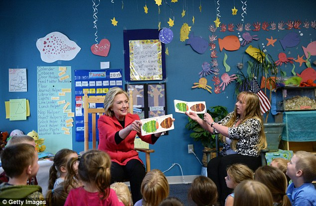 Today: Clinton speaks during a forum on early childhood education at the YMCA in Rochester
