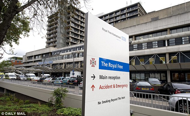 Mr Crichton took Dedra to the Royal Free Hospital in Hampstead, North London (pictured) where he said medics were 'immediately alarmed' by her condition