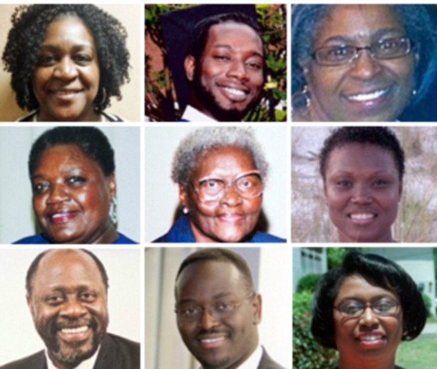 Victims: Nine people died in the shooting. They are (top row, left to right) DePayne Middleton-Doctor,  Tywanza Sanders, Myrah Thompson, (center row) Ethel Lance, Susie Jackson, Sharonda Coleman-Singleton, (bottom row) Daniel Simmons, Clementa Pinckney and Cynthia Hurd