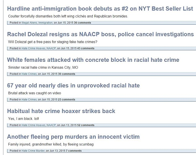 Website: Pictured is the 'memorial wall for crime victims' on the Council of Conservative Citizens website, which Roof said inspired him. The page often identified what it calls racist crimes against white people