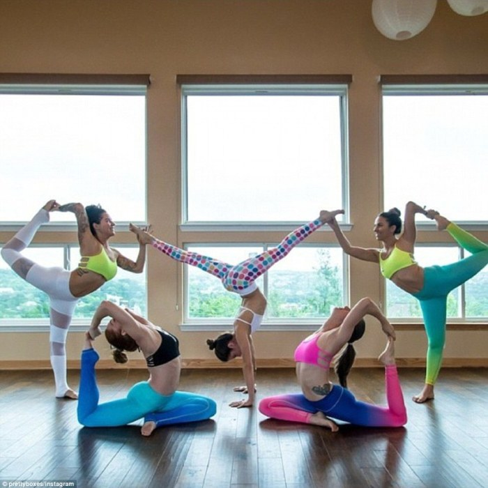 These ladies have embraced yoga posting this colourful photo on Sunday