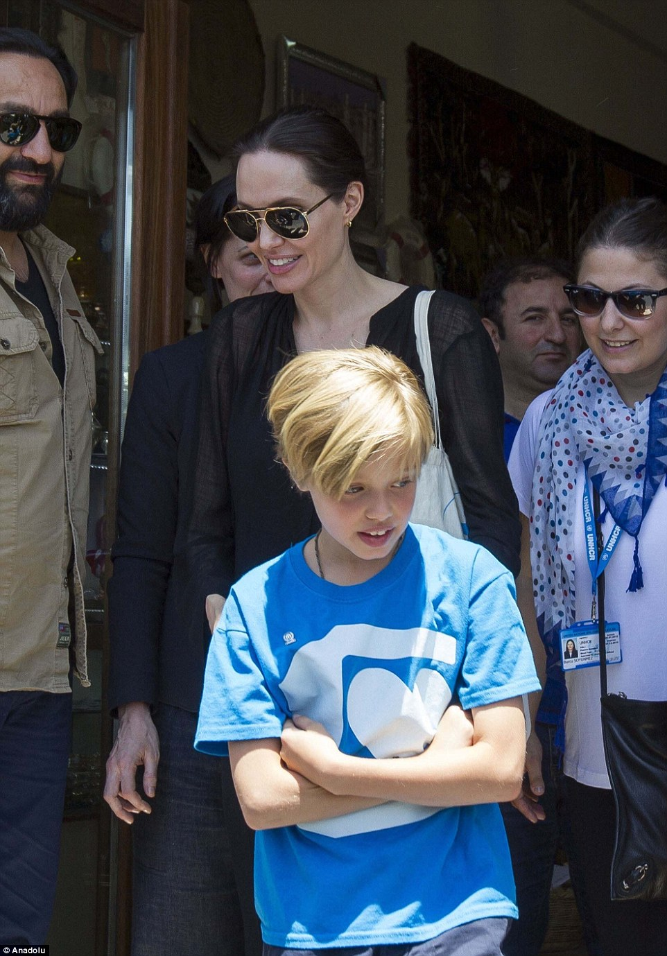 Hollywood star and UN High Commissioner for Refugees visit a camp for Syrian refugees in southeastern Turkey with nine-year-old daughter Shiloh Jolie-Pitt