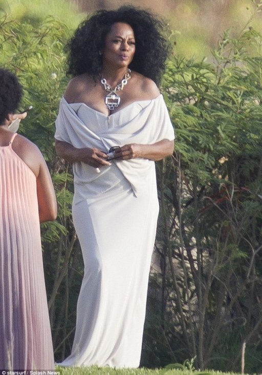 Love Supreme! Diana Ross, 71, shows off cleavage in white gown at her youngest daughter Chudney's wedding to Josua Faulkner in Hawaii on Sunday