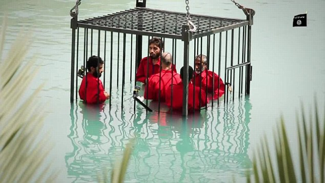 Sickening: Filmed in the ISIS stronghold of Mosul, the horrific seven minute long video uses expensive underwater cameras to film the terrified men as they sink below the surface with no hope of escape