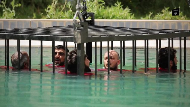 Horrific: As the water begins to enter the cage, the victims panic and start praying and pacing the cell