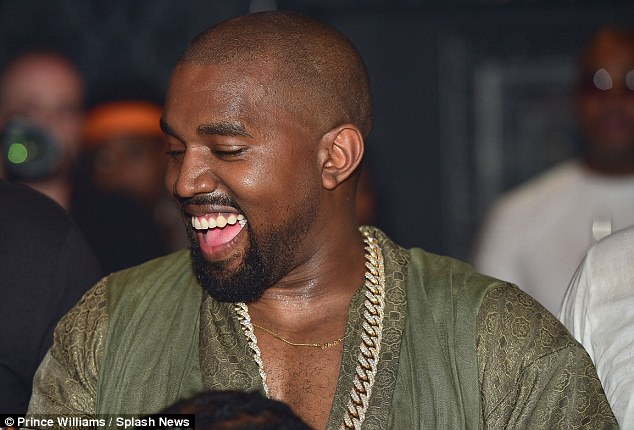 All smiles: Kanye showed off his pearly whites as he enjoyed himself at the Atlanta nightclub