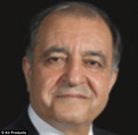 The president of Air Products - an American owned company that is understood to have recently signed a large contract with Saudi Arabia - is an Iranian Shia Muslim named Seifi Ghasemi (pictured)