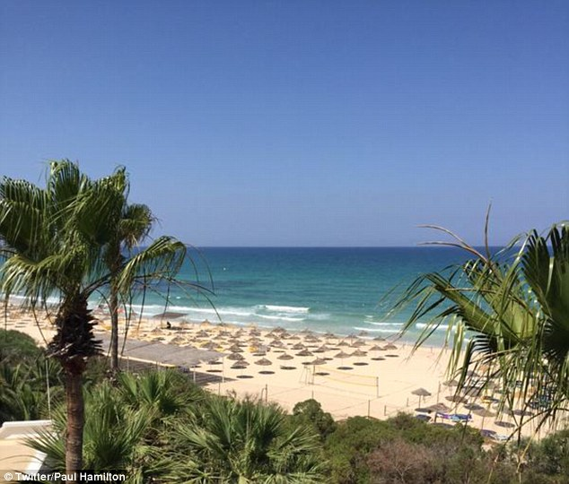 This picture shows the empty beach following the attack which has left 28 people, mainly tourists, dead
