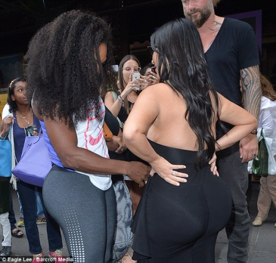 Gentle: Serena carefully ran her hand over the Keeping Up with the Kardashians' star's belly
