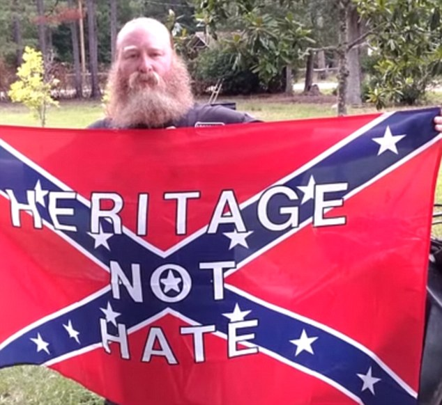 Denied: The Confederate flag image Netzhammer had requested featured the words 'Heritage Not Hate' on it