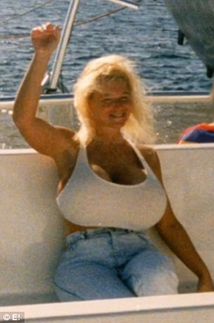 Fame game: Dee eventually had her doctor take her implants to a size 3,000 cc (pictured). Her large breasts helped her land spreads in numerous magazines featuring women with enormous busts