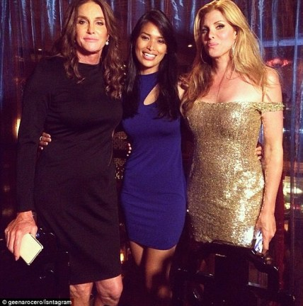 Fitting in: Caitlyn Jenner spent time with two other famous transgender women while in NYC for the Gay Pride Parade on Sunday - model Geena Rocero, center, and actress Candis Cayne, right