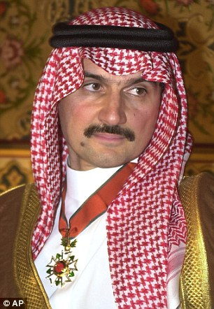 Saudi Arabian billionaire Prince Alwaleed bin Talal, pictured, is planning on giving his entire $32billion (£20bn) fortune to charity