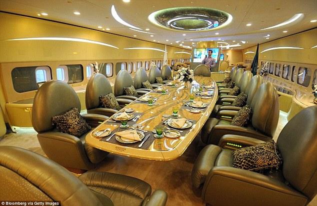 The dining facilities on board Saudi Prince Al-Waleed bin Talal's private Boeing 747